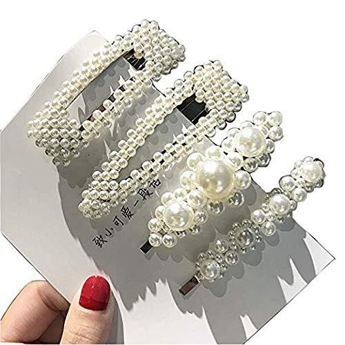 Ornaments Artificial (Clips Hair Ornaments Artificial Pearl Hairpins - 4 pieces Elegant Hair Barrettes Bridal Metal Hair Clip for Weddings Hair Accessories White (4 pcs Hair Barrettes))