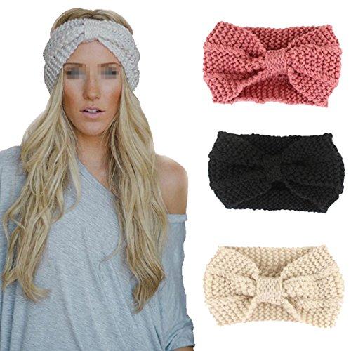 Flyusa Women's Bowknot Winter Warm Twist Knitted Wool Headgear Crochet Headband Head Wrap HairbandBeige