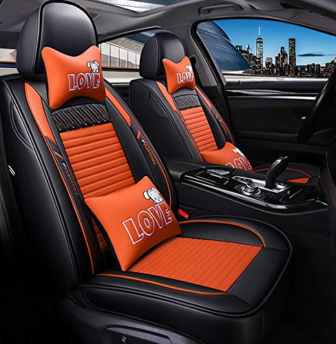 YRRC Car Seat Cover, Front and Rear 5 Seater Complete Set, Universal Leather, Four Seasons, Compatible with Airbag Seat Protectors,Orange