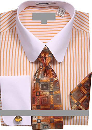 Sunrise Outlet Men's Pinstripe Dress Shirt with Tie Handkerchief Cufflinks - Mustard 16.5 - Pin Outlet