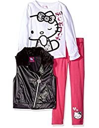Hello Kitty girls Embossed Pleather Moto Vest With White Top and Pink Legging