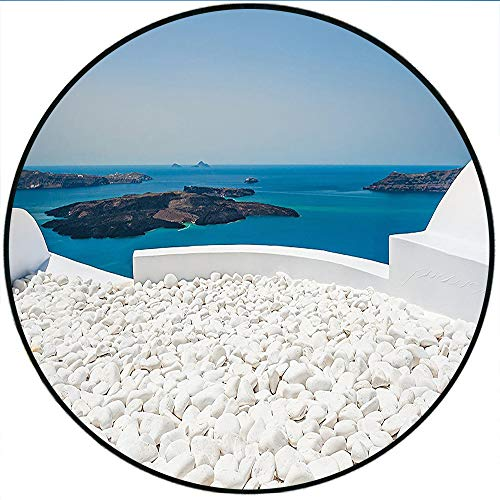 (Short Plush Round Area Rug Hotel with White Stones Santorini Island Greece Landscape with Sea Turquoise and White Dining Room Bedroom Hallway Home Office 27.5