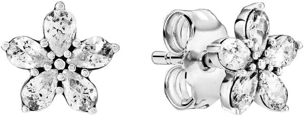 Pandora Boucles d'oreilles flocon de neige scintillants en argent sterling  1,8 x 7,5 x 7,5 mm