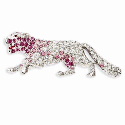 Inspired Silver Jacqueline Kennedy Collection Pink Pave Set Swarovski Element Gems Panther - Jacqueline Kennedy Collection