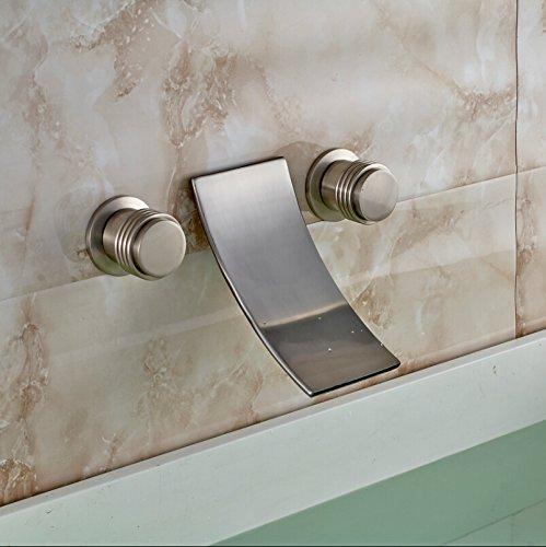 5151buyworld Top Qualität Wasserhahn Wandhalterung gebürstet Waschbecken Wasserhahn Dual Griff Wasserfall Mixer Wasser tapsfor Badezimmer Küche Home Gaden (begriffsklärung), Nickel,