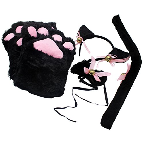 [Newstarfactory Cat Cosplay Collection Ear Tail Claw Tie with Exclusive Gift (Black)] (Toddler Cat Costume Ideas)