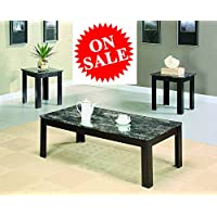 Wooden Coffee Table Set Marble Rectangular Coctail Table With Two End Tables eBook By Easy&FunDeals