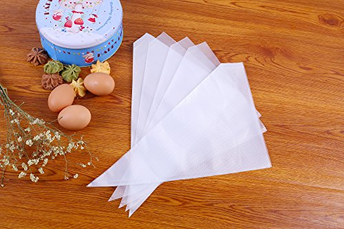 Piping Bags 16-Inch 100 Pack Pastry Bag Icing Bags Frosting Bags Cake Decorating Bags Disposable Icing Bags Pastry Disposable Bag Disposable Piping Bags for Cake Cupcake Cookie Decorating (white) by COOLBAG (Image #4)
