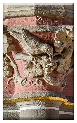 Single-Gang Blank Wall Plate Cover - Pillar Capital Bird Grapes Church Ornament ()