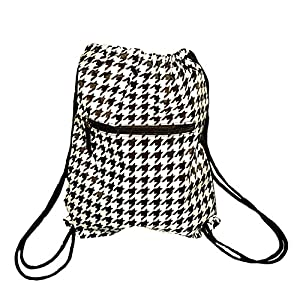 Custom Personalized Fashion Print Drawstring Backpack, Zipper Front Pocket (Blank, Black/White Houndstooth)