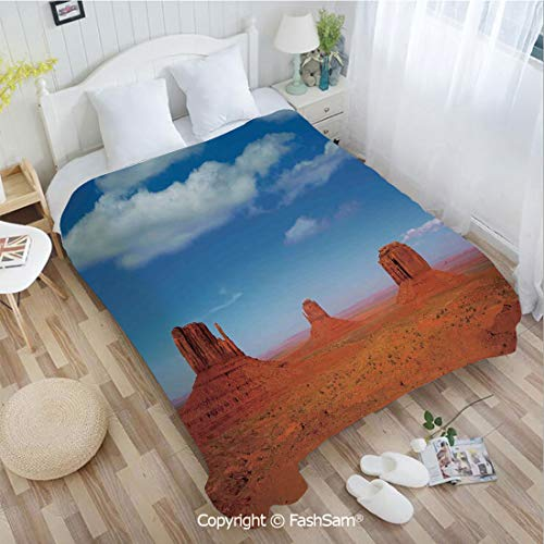 PUTIEN 3D Print Flannel Blanket Monument Valley in Wild West Historical American Lands and Sky Photo Deco for Fun Playroom Decorations(59Wx78L)