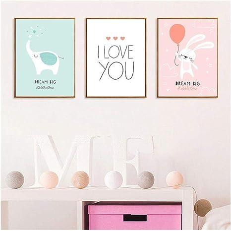Amazon|漫画の動物のポスター壁アート子供キャンバス絵画ピンクのウサギバルーン象かわいい幼稚園子供女の子の部屋の装飾-50X70Cm  非フレーム|アートフレーム・ポスター オンライン通販