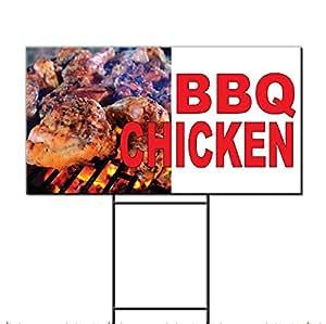 Barbacoa pollo rojo plástico corrugado Yard Sign/libre juego