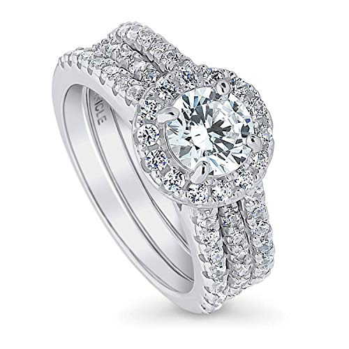 (BERRICLE Rhodium Plated Sterling Silver Round Cubic Zirconia CZ Halo Engagement Wedding Insert Ring Set 2.08 CTW Size 8)