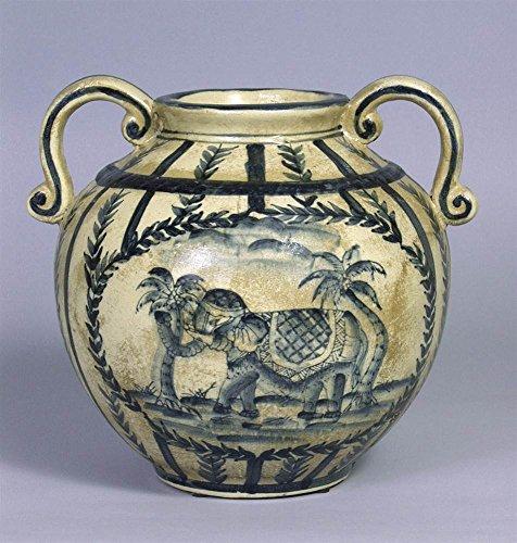 AA Importing Hand-Painted Porcelain Vase w Elephant & Palm ()