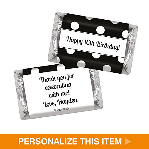 Personalized Candy Birthday Favors Dot Filled Day HERSHEY'S MINIATURES Wrappers - Black White (100 Wrappers)