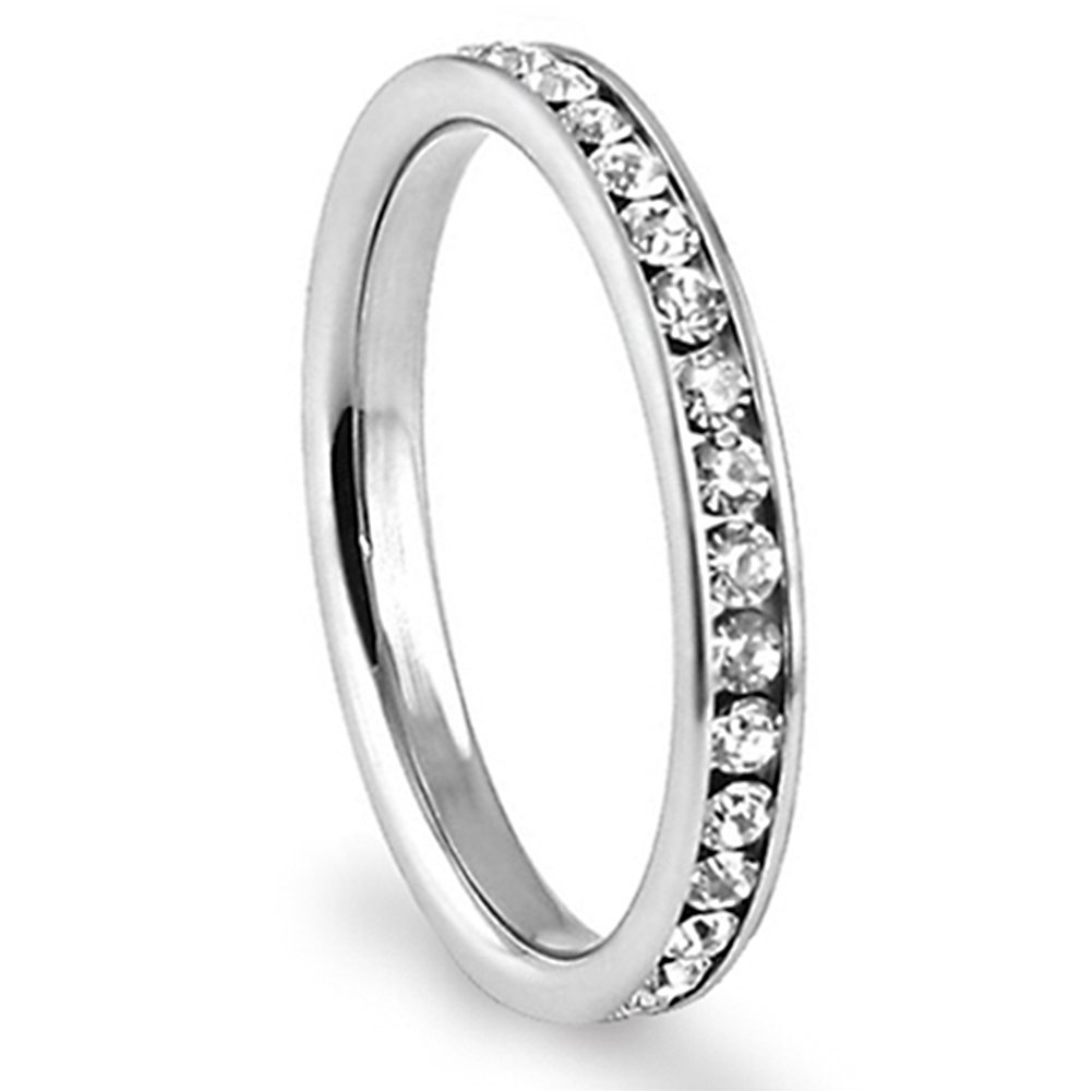 316L Stainless Steel White Cubic Zirconia CZ Eternity Wedding 3MM Band Ring up to size 12 Comes with FREE Gift Box Metal Factory