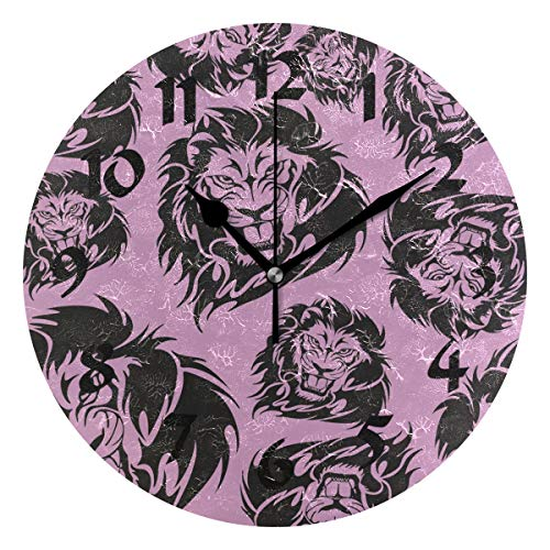 Round Pink Tiger Wall Clock Silent Non Ticking Battery Operated Decorative for Kitchen Living Room Bedroom Office ()