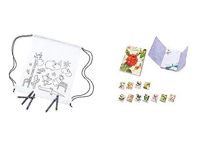 Lote de 10 Mochilas Infantiles con 5 Ceras para Pintar de Colorear Cada Bolsa + 3 Blocs de Nota Mariposas