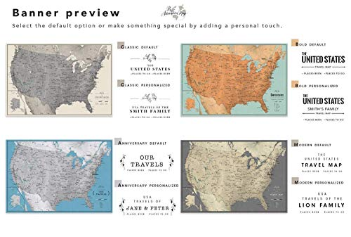 United States travel map poster print or mounted with Various Size & Color  Options - Pin Adventure Map
