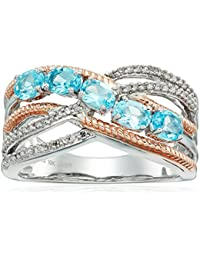 Sterling Silver and 10K Pink Gold Swiss Blue Topaz Oval Shape and White Diamond Fashion Ring