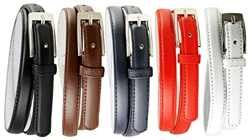 Womens 5pcs Solid Color Genuine Leather Fashion Dress Casual Skinny Belt (Leather Skinny Belt)