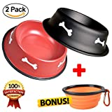 insulated water bowl - Dog Bowls, Stainless Steel Bowl Set for Dogs, Puppies & Cats, Dog Water Bowl with Non-Skid Rubber Base, Rust Resistant Pet Bowls, Collapsible Dog Bowl & Carabineer, Cat Food Bowls2 Pack, Small 11oz