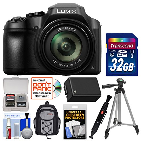Panasonic Lumix DC-FZ80 4K Wi-Fi Digital Camera with 32GB Card + Backpack + Battery + Tripod + - Zoom Super Camera Panasonic