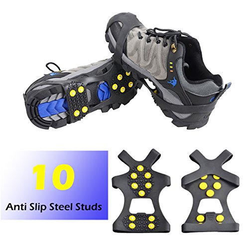 Triwonder 1 Pair 10 Teeth Anti-slip Ice Traction Universal Slip-on Stretch Fit Snow Ice Spikes Crampons Cleats (XL, Black)