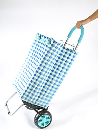 dbest products Trolley Dolly Basket Weave Tote, Blue Shopping Grocery Foldable Cart Picnic Beach by dbest products (Image #4)