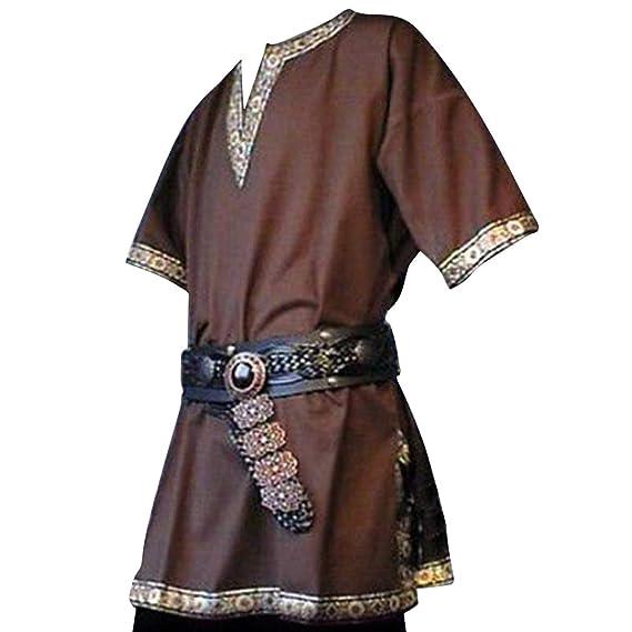 Hombres Túnica Medieval - Vintage Renacimiento Camisa Disfraz Moda Manga Corta Cuello en V Blusas Tops para Halloween Cosplay Tallas Grandes ...