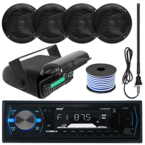 Pyle PLMRB29B MP3 USB SD Bluetooth in-Dash Radio Receiver Bundle Combo with Black Marine Stereo Housing + 4X 6 1/2 Dual Cone Waterproof Audio Speakers = Enrock Flex AM/FM Antenna + 50Ft Speaker Wire