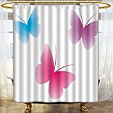 Shower Curtains Fabric Butter Silhouettes Colors Spiritual Wings Life Themed Pink Dried Rose