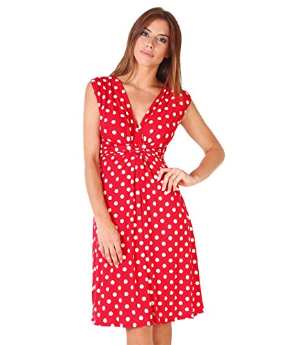 Krisp knot Front Dress, Red/White Polka Dots, 3X,3X