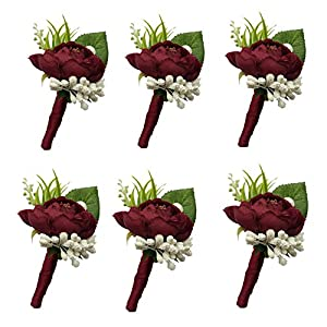 6 Pieces/lot Groom Boutonniere Man Buttonholes Wedding Flowers Party Decoration (Wine red) 49