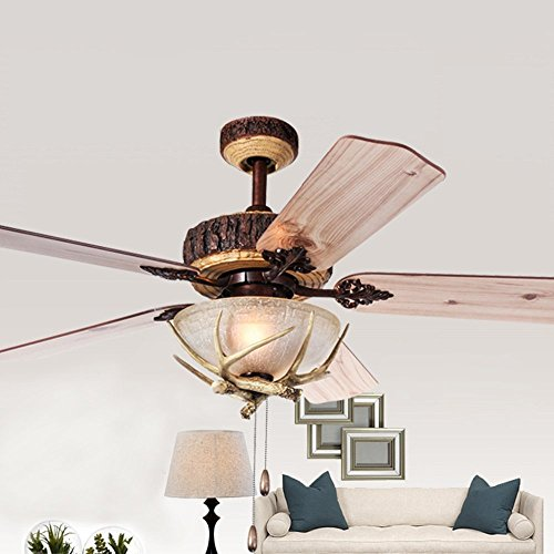 Rustic ceiling fan with 1 light cover indoor home decoration living tropicalfan rustic ceiling fan with 1 light cover indoor home decoration living room antlers silent industrial fans mozeypictures Images