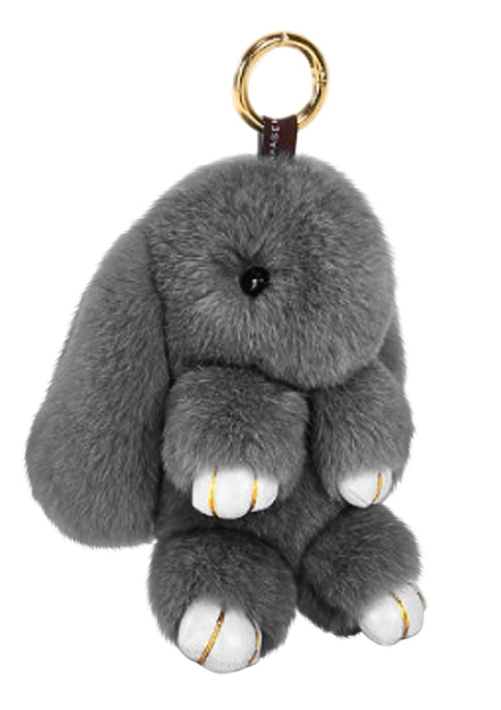 Cute Fluffy Rabbit Bunny Fur Keychain for Women Girls Pom Pom Car Key Chain Soft Plush Doll Ball Keyring Toy Handbag Purse Bag Cellphone Key Holder Charms Ring Decor Pendant Ornament Christmas Gifts by BXT (Image #1)