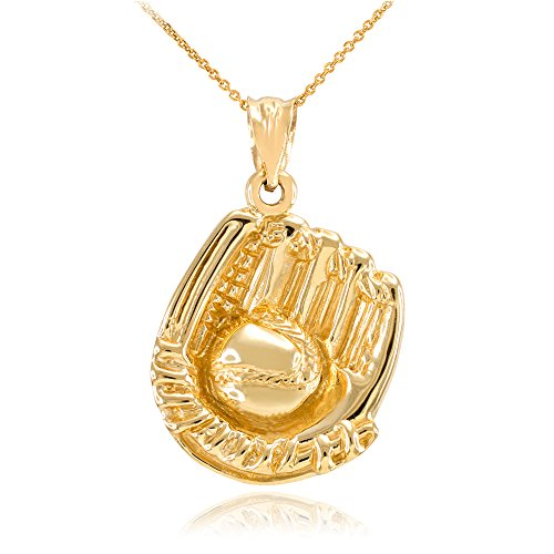Sports Charms Solid 14k Yellow Gold Softball Glove and Ball Pendant Necklace, 18