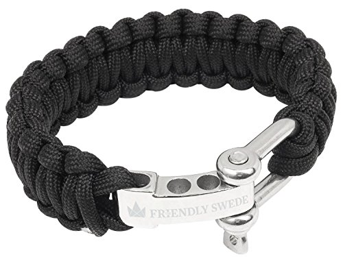 The Friendly Swede TM Premium Paracord Survival Bracelet With Stainless Steel D Shackle - Adjustable Size Fits 7-8 Inch Wrists in Retail Packaging (Black)
