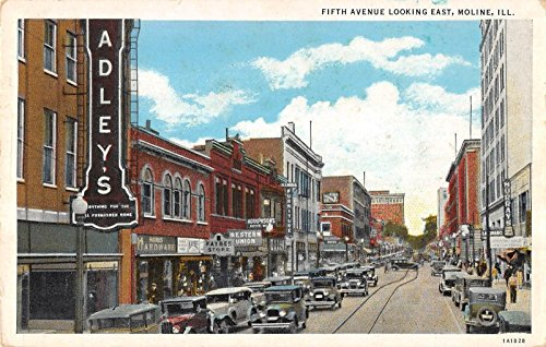 Moline Illinois east on Fifth Ave stores trolley tracks antique pc - Store Ave