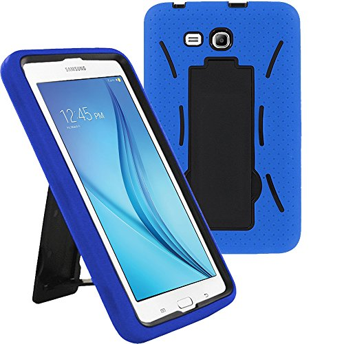 Samsung Tab 3 7.0 Lite Case by KIQ Drop Protection Hybrid Case Full Body Silicone Plastic Cover for Samsung Galaxy Tab 3 7 LITE [SM-T110] w/Kickstand and Screen Protector - Black/Blue