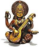 Hindu Goddess Saraswati Playing the Vina Bronze Finish Statue Sculpture Figurine Sarasvati