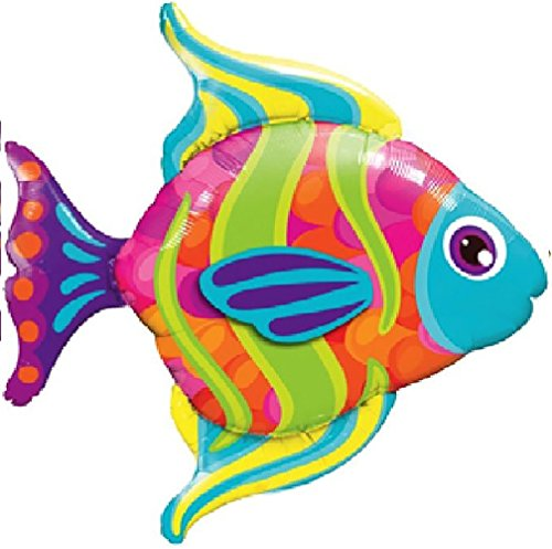 "Custom, Fun & Cool {XXL Massive Huge Size 43"" Inches - 3.58 Feet} 1 Unit of Helium & Air Inflatable Mylar Aluminum Foil Balloon w/ Tropical Fish Design [in Bright Green, Teal, Orange, Yellow & Purple] Bright Tropical Fish"
