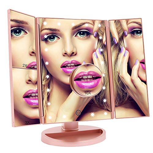 Fascinate Lighted Makeup Mirror with 21 LED Lights Touch Screen Dimming, Tri-Fold 3X/2X/1X Magnification 180 Degree Rotation Vanity Mirror (Rose Gold) (Panel Storage Recess)