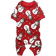 """Lanyarco Cute Snowman Snowflake Pet Clothes Christmas Dog Pajamas Shirts, Red Back Length 12"""" Small"""