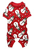 Snowman Xmas Cotton Pet Dog Pajamas Jumpshit for Large Dogs, Back 24