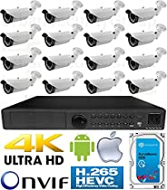USG H.265 4MP Ultra 4K 16 Camera Security System PoE IP CCTV Kit: 16x H.265 4MP IP PoE 2.8-12mm Lens Bullet Camera + 1x H.265 5MP 24 Channel NVR + 1x 4TB HDD * View Remotely On Apple & Android