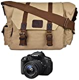 Rustic Town Canvas Vintage Crossbody Messenger Camera Bag Gift Men Women Travel Work ~ Carry Laptop Computer Books ~ Sling Shoulder Tote ~ Everyday Office College School Satchel 15 Inch (Beize)