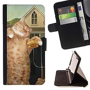 Momo Phone Case / Flip Funda de Cuero Case Cover - Pintura de la hamburguesa del arte del gato del jengibre rojo; - Motorola Moto E ( 1st Generation )