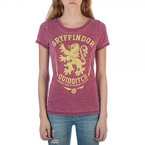 Bioworld Harry Potter Gryffindor House Symbol Juniors Oil Washed T-Shirt (Large)]()